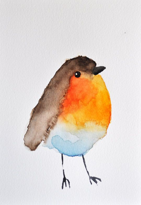 Drawn robin simple Best Aquarell watercolor Aquarell Robin
