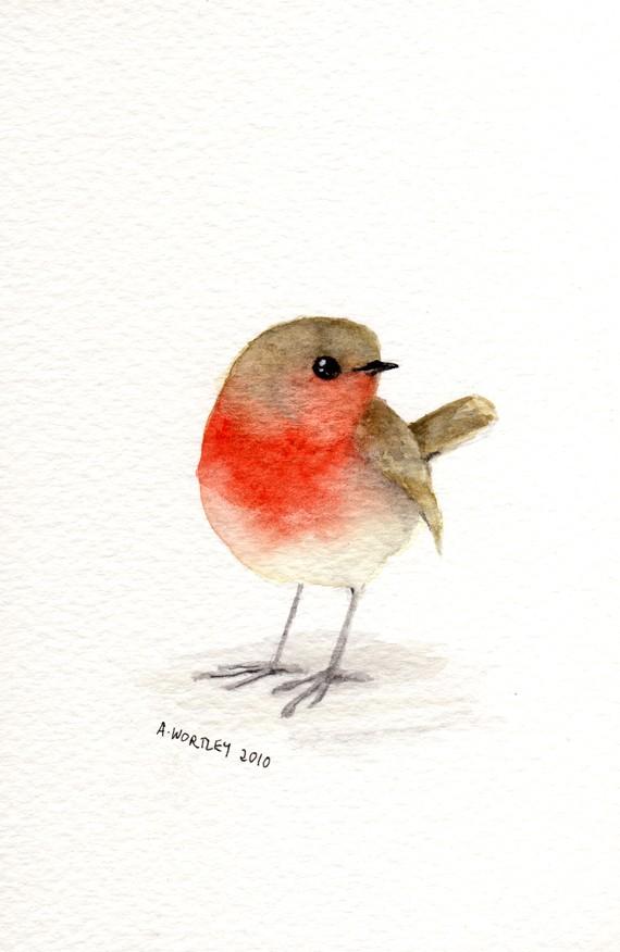 Drawn robin simple Watercolor Little Red original watercolour
