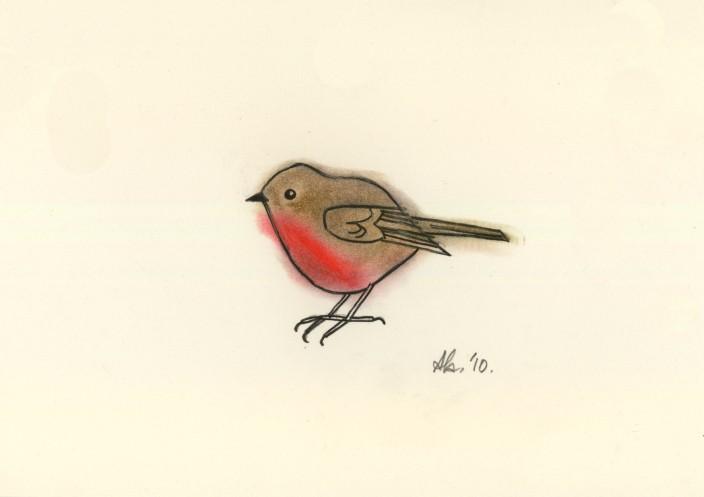 Drawn robin sketch And Breast Breast pastel Original