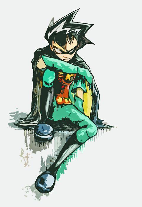 Drawn robin superhero Comics RED ROBIN NIGHT DC