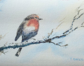 Drawn robin winter bird Art original painting watercolour bird