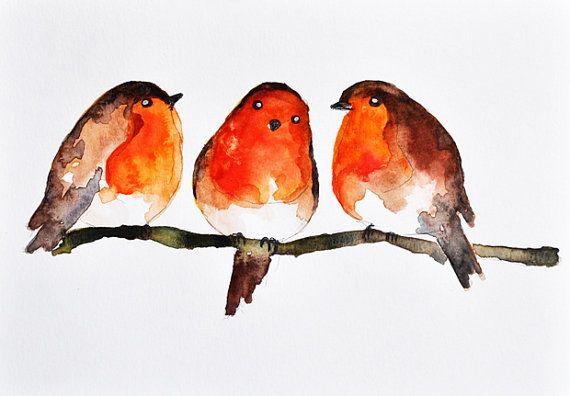 Drawn robin winter bird Watercolor Watercolor Christmas Christmas bird