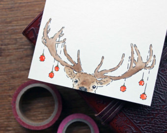 Drawn robin xmas By Christmas Deer  Cards