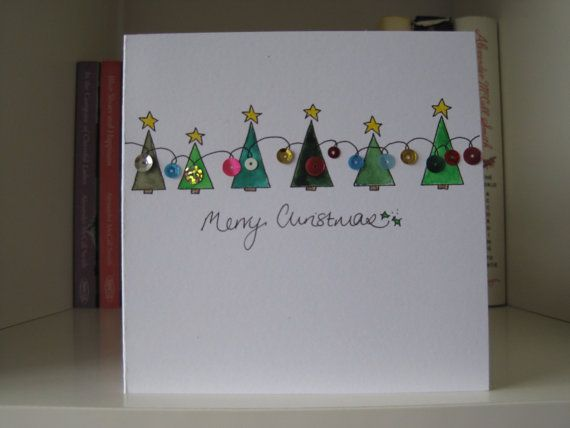 Drawn cards hand painted Lights Trees Christmas Best drawn