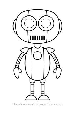 Drawn robot Robot (Sketching drawing drawing +