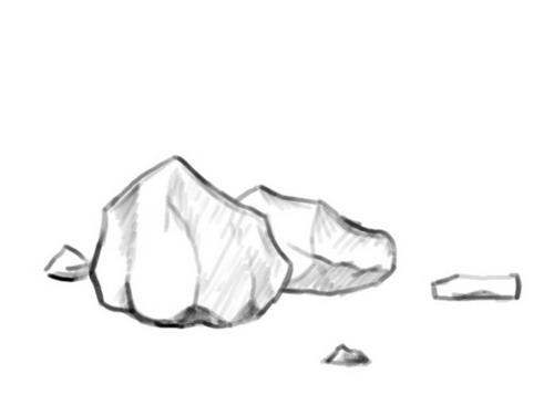Drawn rock To Bushes Draw Bushes Plants