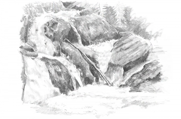 Drawn rock pencil drawing To by Drawings! step waterfalls