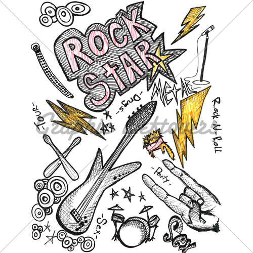 Drawn rock rock and roll Rock Design Scetch Roll Elements