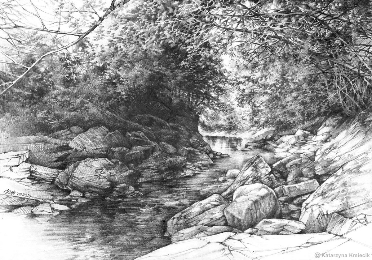 Drawn rock rocky landscape