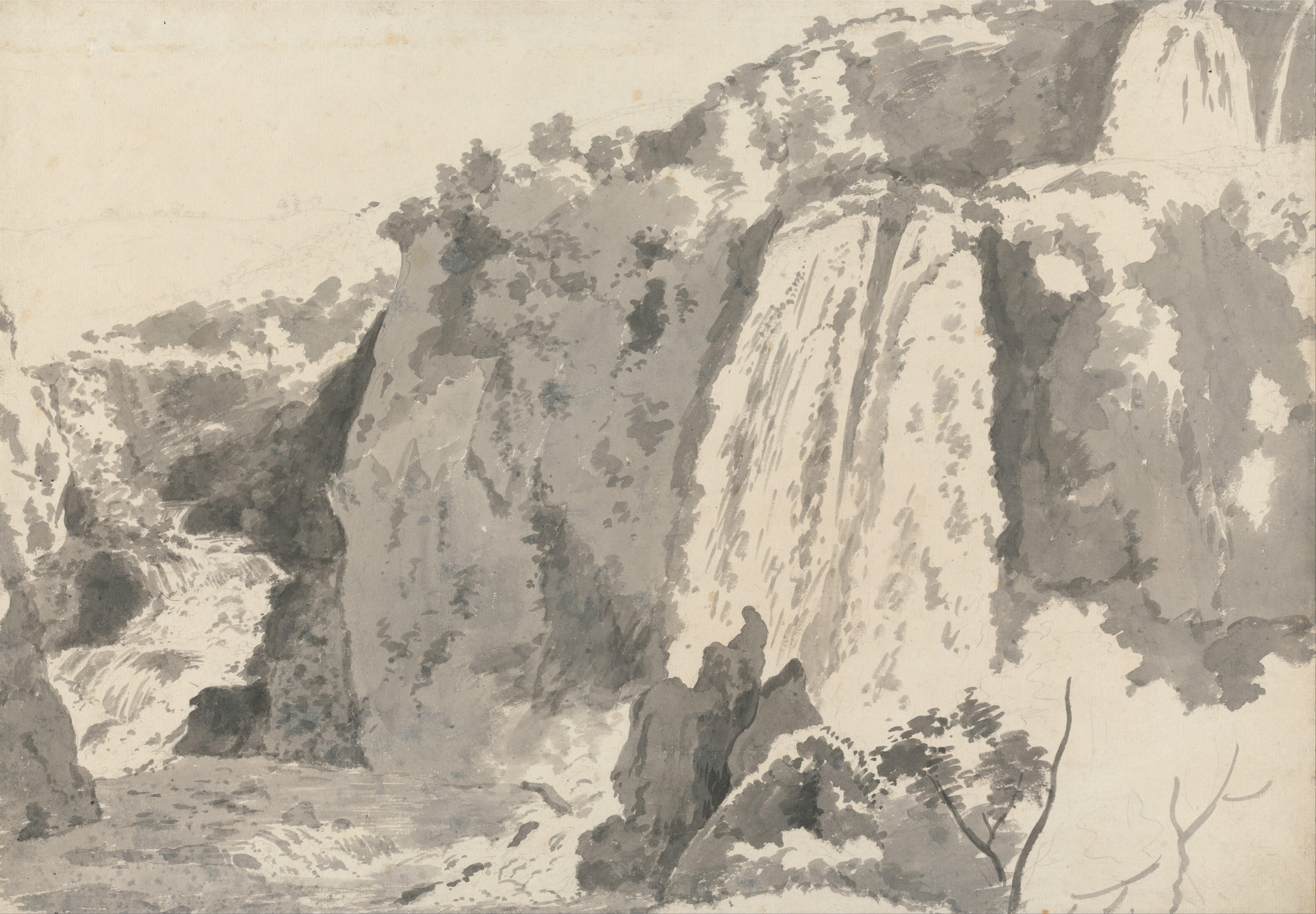 Drawn rock rocky landscape Rocky Waterfalls of Landscape