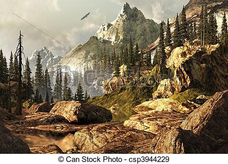 Drawn rock rocky landscape Illustration Landscape csp3944229 scene Rockies