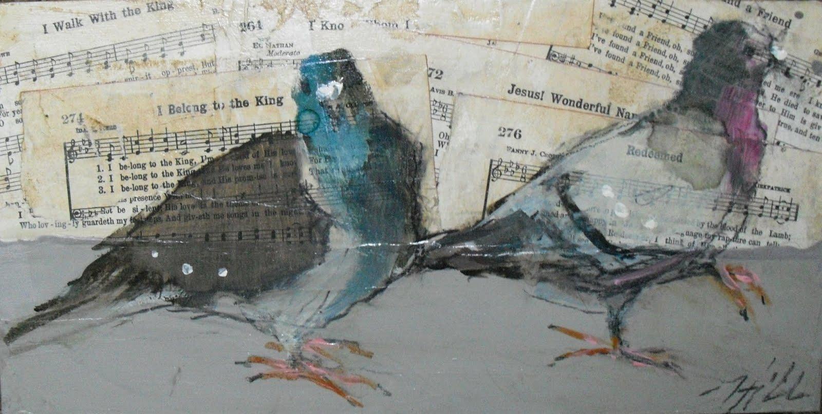 Drawn rock torn paper  Standlee Nancy Fine Collage