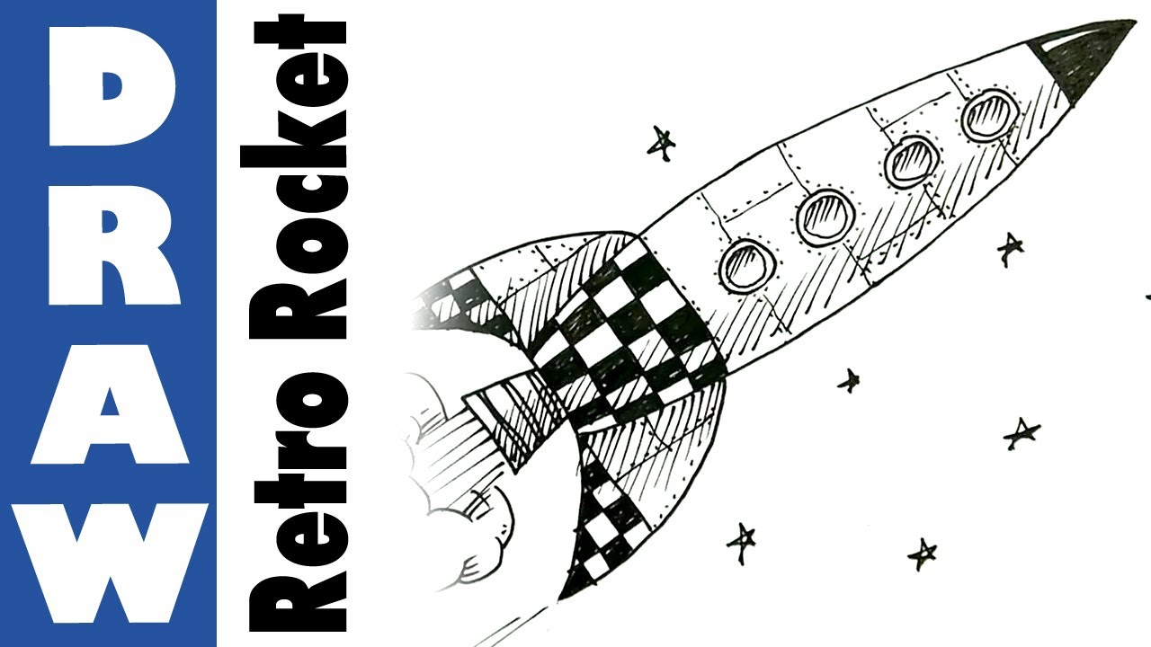 Drawn rocket Retro  Rocket to draw