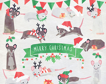 Drawn rodent christmas Rat Watercolor Clip Cute Etsy