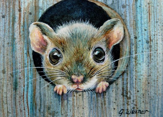 Drawn rodent deer mouse Watercolor by mice 656 via