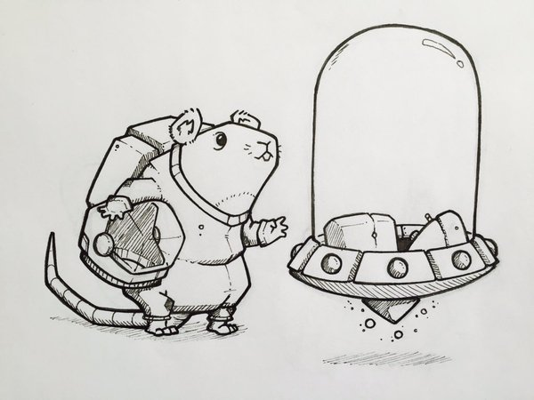 Drawn rodent doodle Armstrong Armstrong #space #spaceship