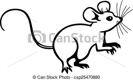Drawn rodent illustration Up of vector Mouse line