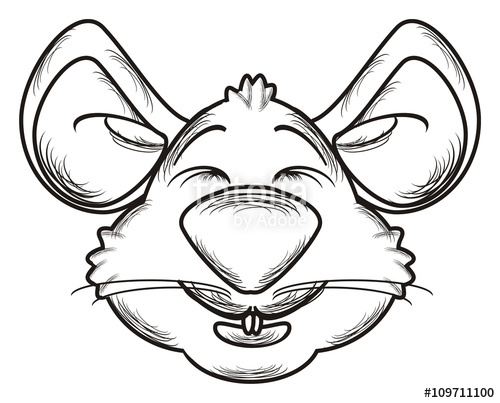 Drawn rodent mouse head Animal face mouse isolated line