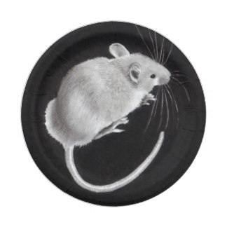 Drawn rodent paper Drawing: Mouse: Plate on Zazzle