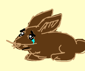 Drawn rodent sad Rabbit Hartaanval) rabbit by (drawing