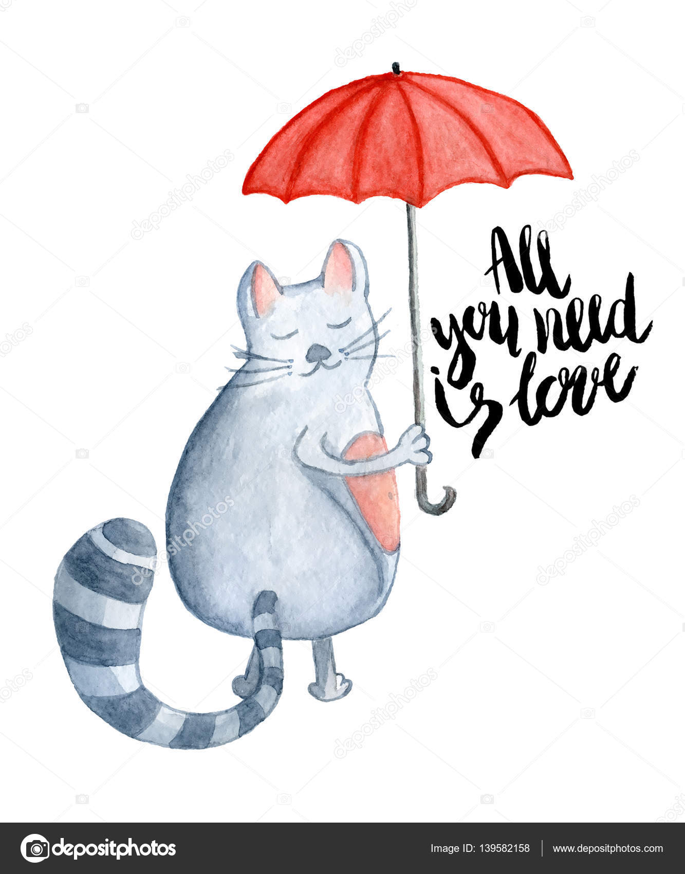 Drawn rodent umbrellas Invitations illustration cards Watercolor red