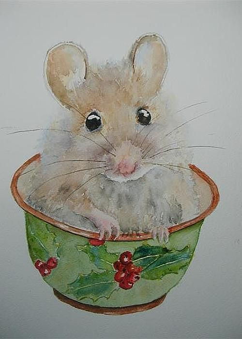 Drawn rodent watercolour Mice Card DrawingWatercolor Christmas 262
