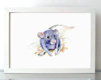 Drawn rat farm animal Painting Nursery Watercolor Giclee watercolor