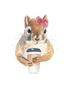 Drawn rodent watercolour Squirrel Print Squirrel Squirrel Coffee