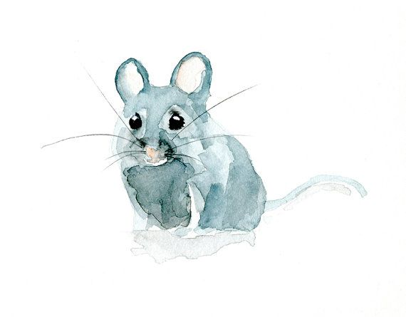 Drawn rodent watercolour On Cute decor Giclee Mouse