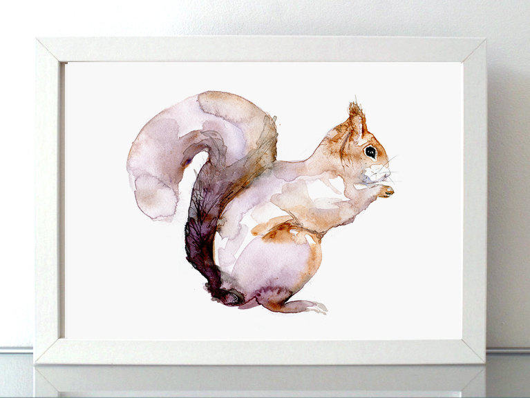 Drawn rodent watercolour Nursery watercolor giclee painting print