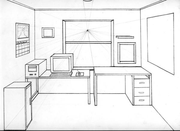 Drawn room 1 pt Perspective 1 Point One Room