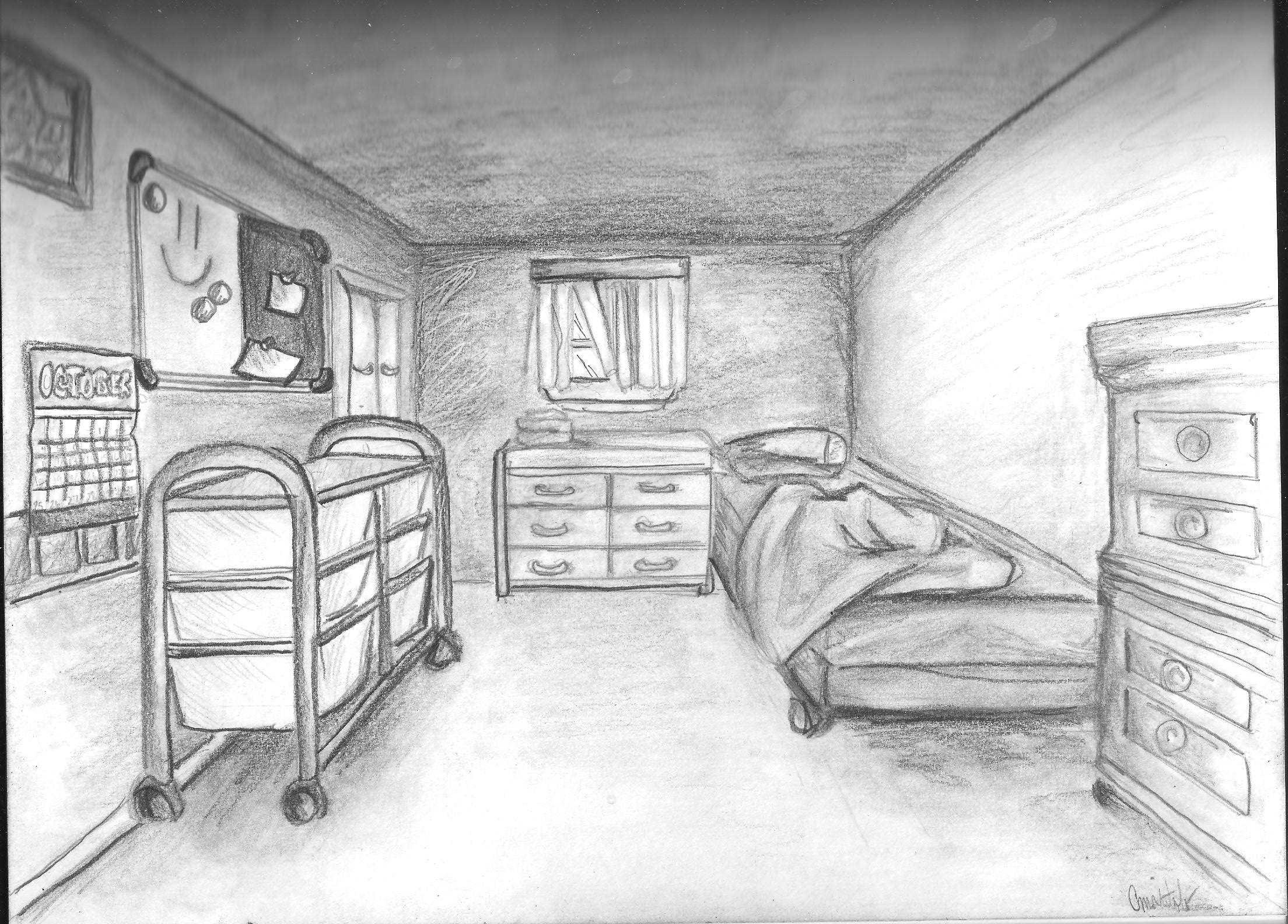 Drawn bedroom black and white Perspective Drawing ~ point room