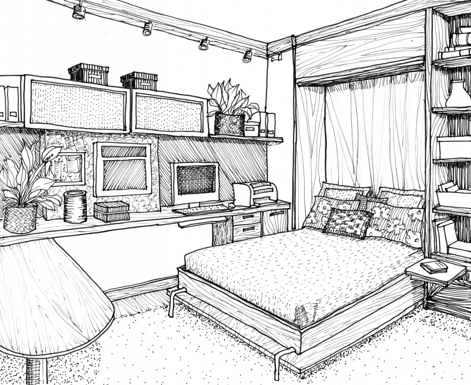 Drawn bedroom black and white 1 On Living Home Bedroom