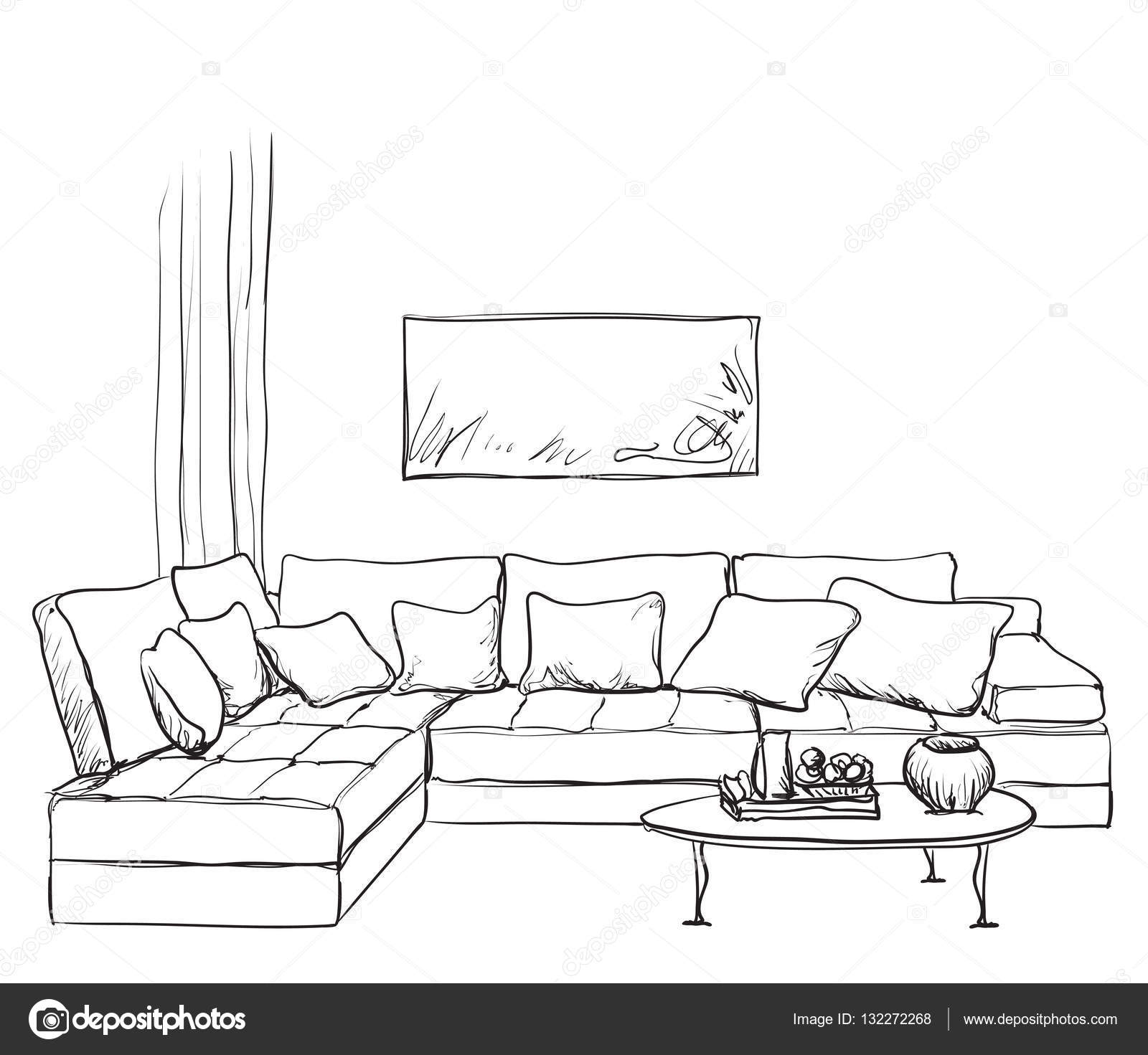 Drawn room Drawn sketch #132272268 Vector Stock