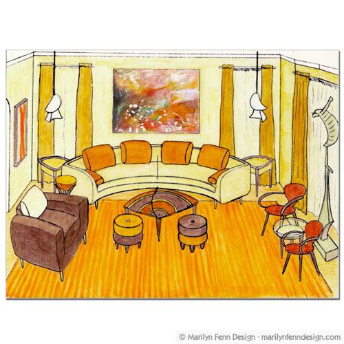 Drawn room animated Illustration Illustration Room Living Living
