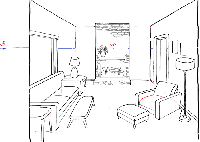 Drawn room cartoon Room How a Living Perspective