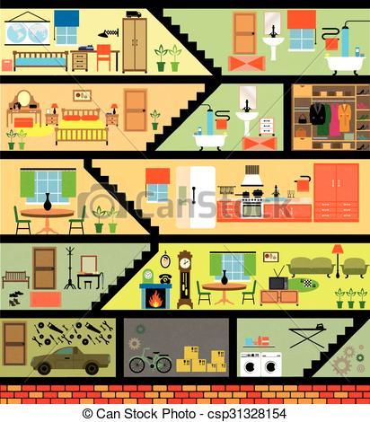 Drawn room cartoon house Family Cartoon house csp31328154 interior