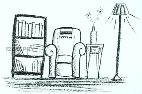 Drawn room easy Room Drawing printable room Living