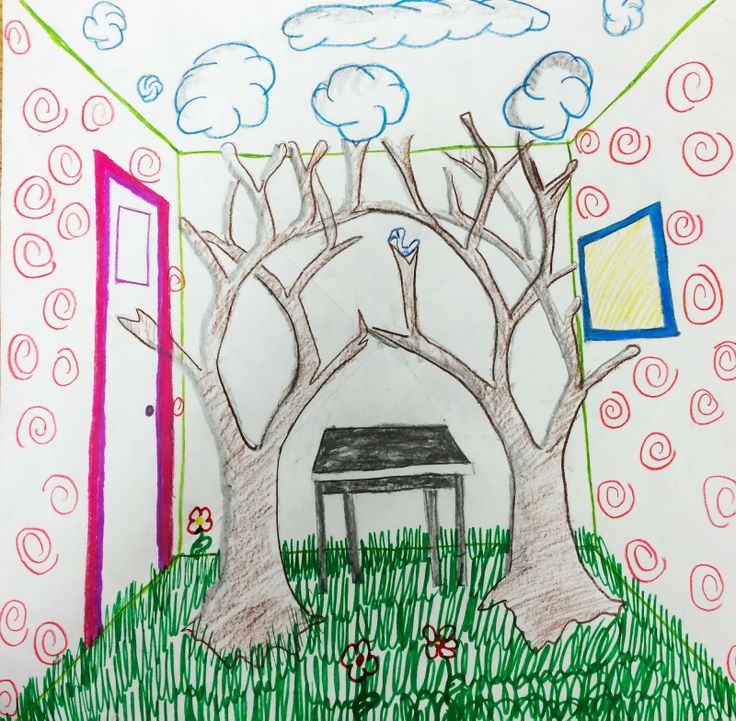 Drawn room first Surrealistic perspective Point about on