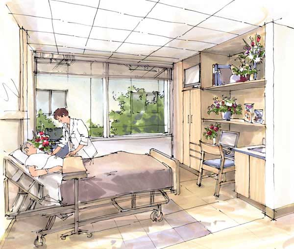 Drawn room hospital room Concept Patient concept Rendering Patient