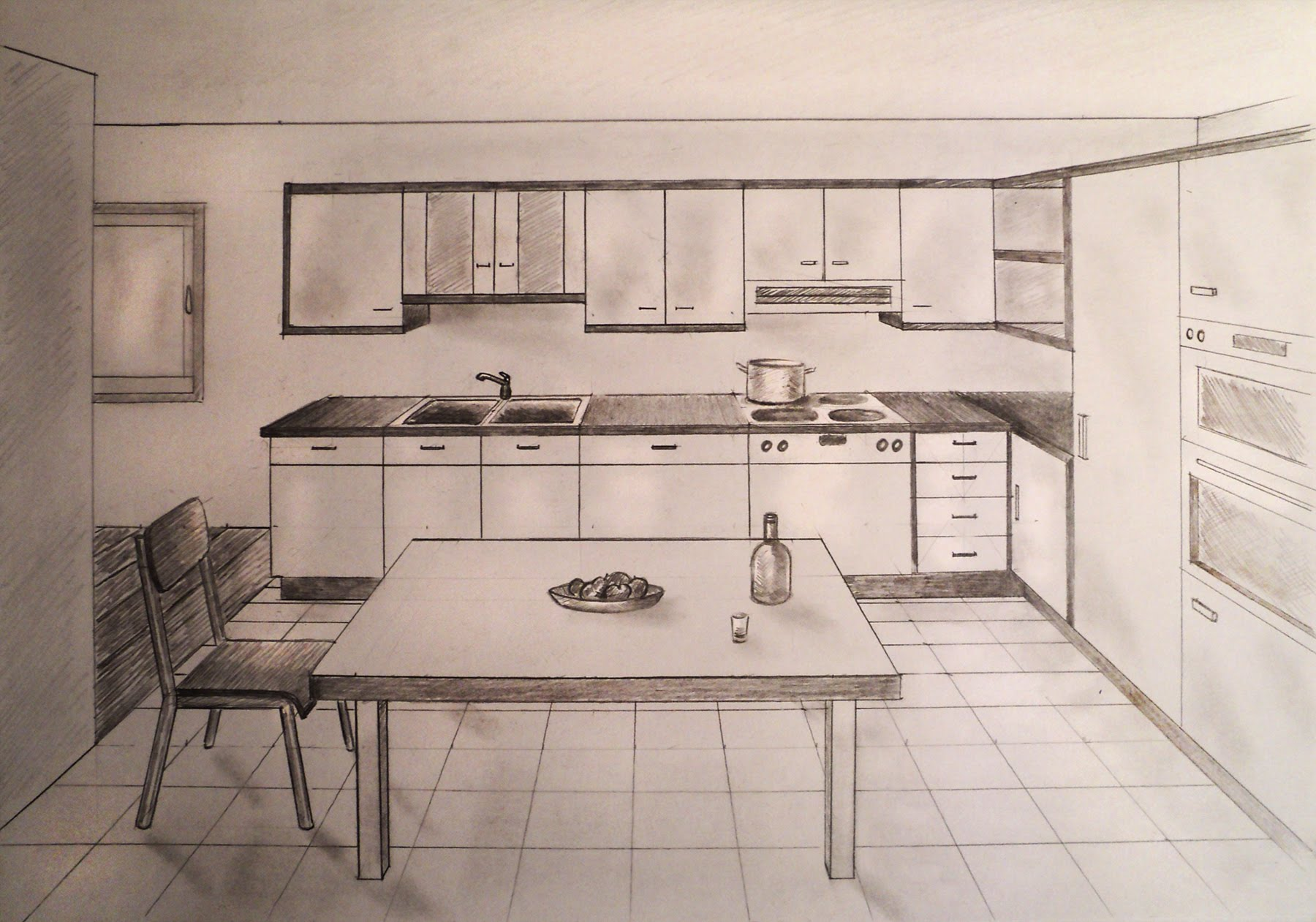 Drawn room kitchen room  with furniture draw perspective