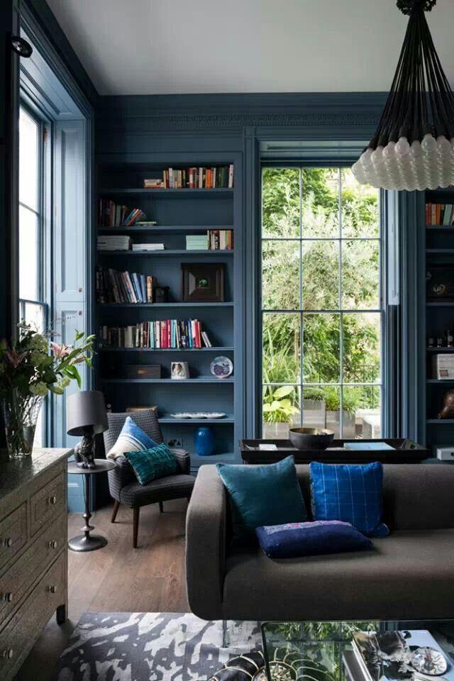 Drawn room living room Blue on grey room room