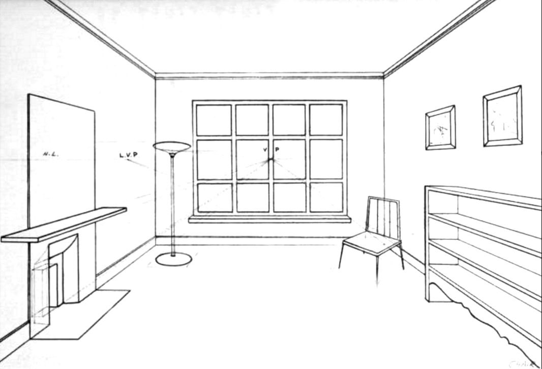 Drawn bedroom perspective  Room Inside of Interior