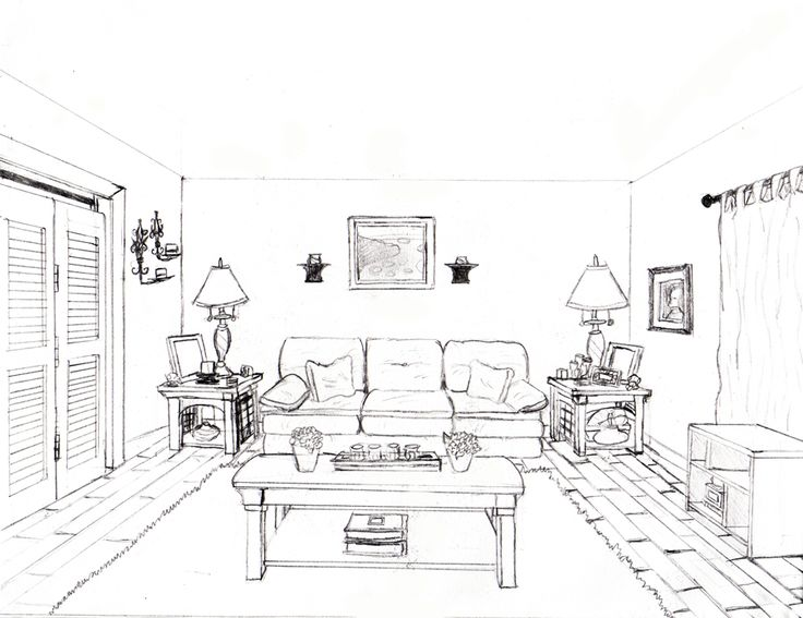 Drawn room one point perspective How Perspective Point and To