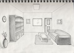 Drawn room one point perspective Gallery Room Perspective video For