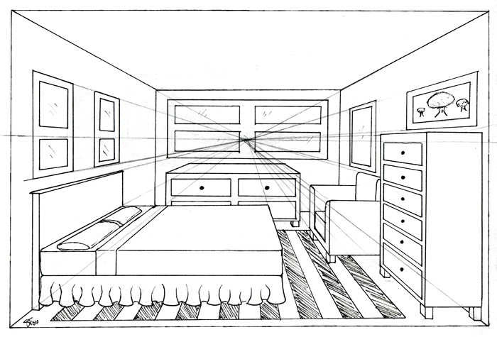 Drawn room one point perspective Find art on on this