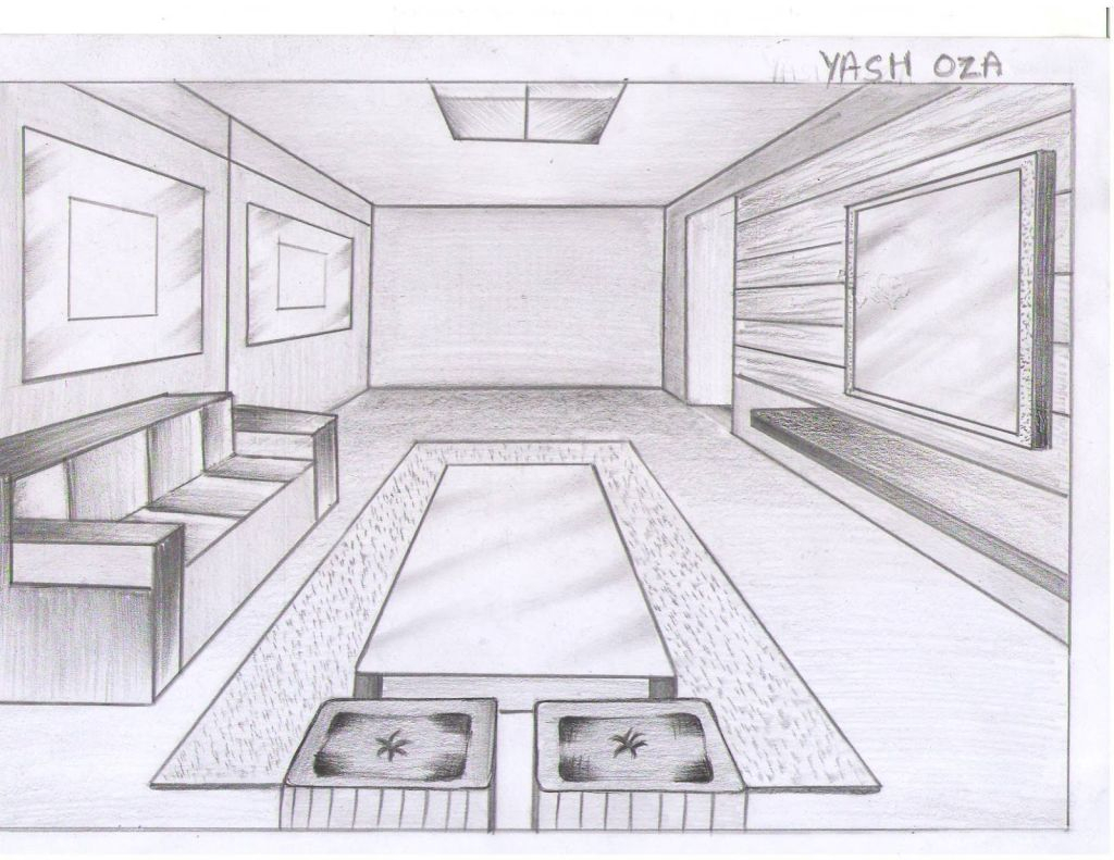 Drawn room one point perspective  Drawing Ideas Ideas One