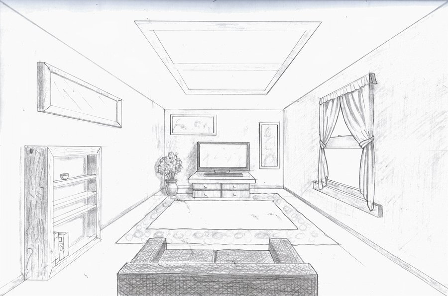 Drawn room one point perspective Room point Single · point