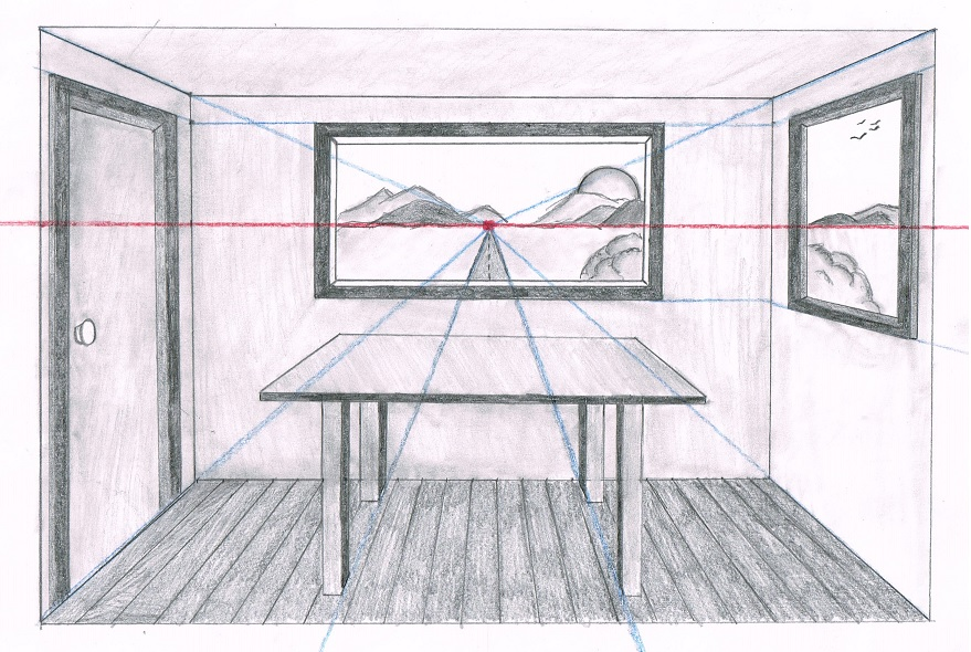 Drawn room one point perspective Drawing perspective point a Drawing