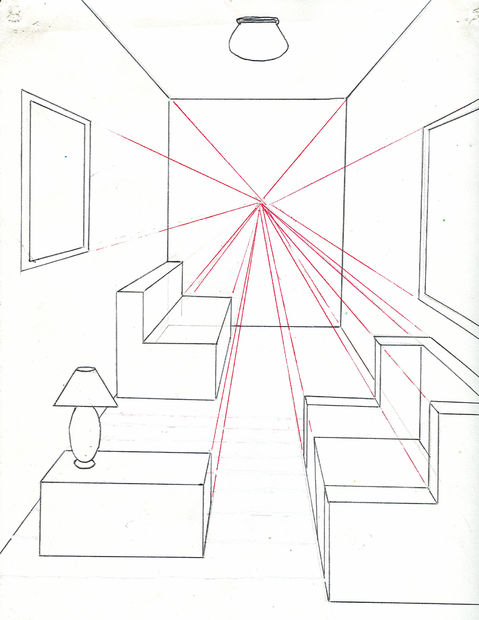 Drawn room one point perspective How One Using 11 to